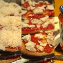 Mille feuilles d'aubergine – sauce arabiatta – poulet et mozzarella